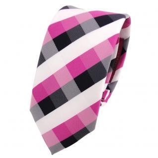 Schmale TigerTie Designer Krawatte pink blau royal weiß kariert - Schlips Binder