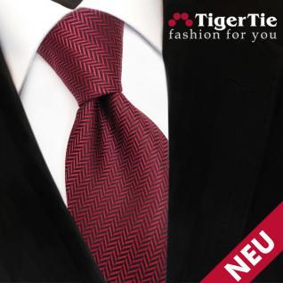 TigerTie Designer Krawatte rot dunkelrot schwarz gestreift - Schlips Binder Tie