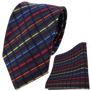 TigerTie Designer Krawatte + Einstecktuch gold blau rot orange schwarz gestreift