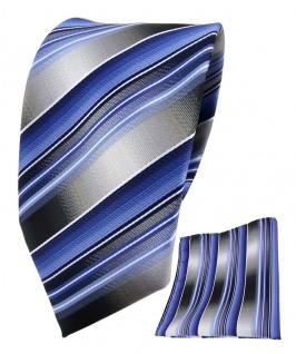 TigerTie Seidenkrawatte + Einstecktuch in blau hellblau grau silber gestreift