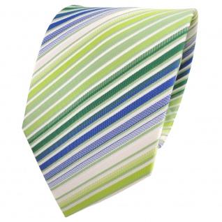 XXL Designer Krawatte grün hellgrün blau weiß creme gestreift + Krawattennadel - Vorschau 2