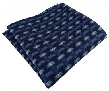 TigerTie Designer Einstecktuch in blau marine dunkelblau - Motiv Flechtmuster