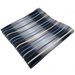 TigerTie Einstecktuch in türkis blau silber grau weiß schwarz gestreift - Tuch