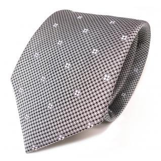 Designer Seidenkrawatte silber grau schwarz weiss gemustert - Krawatte Seide