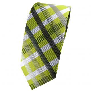 schmale TigerTie Krawatte grün hellgrün silber grau anthrazit kariert - Binder