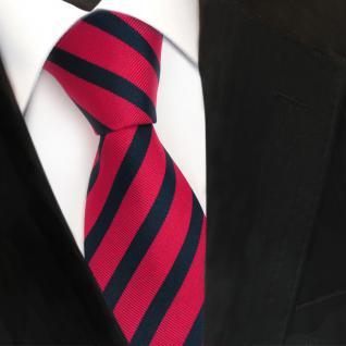 TigerTie Seidenkrawatte rot dunkelrot blau royal gestreift - Krawatte Seide
