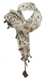 Halstuch in braun beige gemustert mit Tusseln an den Ecken - Gr. 100 x 100 cm - Vorschau