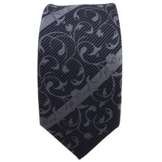 Schmale TigerTie Krawatte anthrazit grau dunkelgrau gestreift - Schlips Tie - Vorschau 2