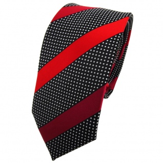 Schmale TigerTie Krawatte rot bordeaux schwarz silber gestreift - Binder Tie