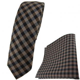 schmale TigerTie Krawatte + Einstecktuch in braun dunkelbraun anthrazit kariert