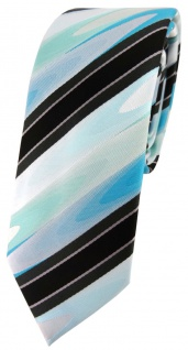 schmale TigerTie Krawatte in mint grün türkis schwarz anthrazit grau gestreift
