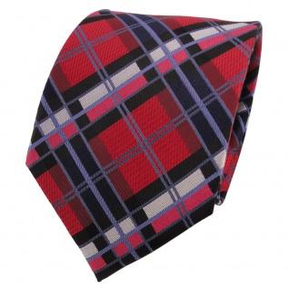 TigerTie Designer Seidenkrawatte rot blau schwarz silber kariert - Krawatte