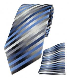 TigerTie Seidenkrawatte + Einstecktuch in blau anthrazit grau silber gestreift