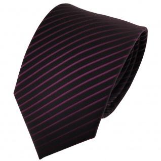 TigerTie Designer Krawatte lila violett schwarz gestreift