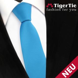Schmale TigerTie Satin Krawatte blau türkis wasserblau Uni - Schlips Binder Tie