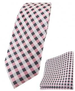 schmale TigerTie Seidenkrawatte + Seideneinstecktuch rosa anthrazit weiß kariert