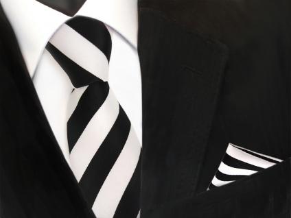 Designer TigerTie Krawatte + Einstecktuch schwarz weiss gestreift - Vorschau 2
