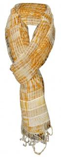 TigerTie Designer Chiffon Schal orange beige gemustert mit Fransen - 180 x 50 cm