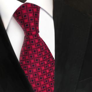 Designer Seidenkrawatte rot weinrot royalblau gemustert - Krawatte Seide Tie