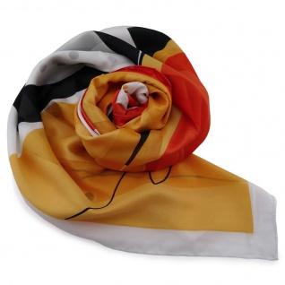 Damen Satin Halstuch orange silber braun schwarz 90 x 90 - Tuch Nickituch Schal