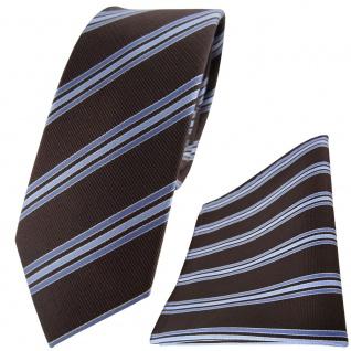schmale TigerTie Seidenkrawatte + Einstecktuch dunkelbraun hellblau gestreift