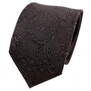 TigerTie Designer Seidenkrawatte anthrazit schwarz gemustert - Krawatte Seide