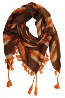 TigerTie Halstuch orange rotbraun beige gemustert mit Fransen - Gr. 95 x 95 cm
