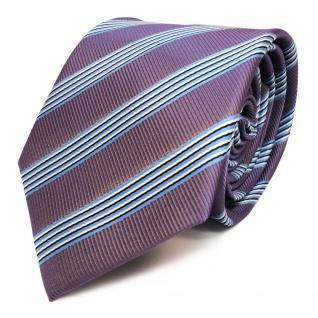 Elegante Krawatte - Schlips Binder lila blau schwarz weiss gestreift - Tie