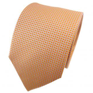 TigerTie Seidenkrawatte orange silbergrau gepunktet - Krawatte 100% Seide