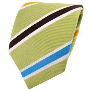 TigerTie Krawatte grün hellgrün türkis braun gelb weiß gestreift - Binder Tie