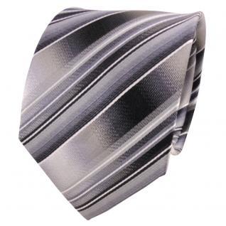 TigerTie Seidenkrawatte grau silber anthrazit hellgrau gestreift- Krawatte Seide