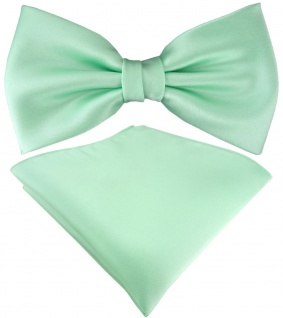 TigerTie Satin Fliege + TigerTie Einstecktuch in mint Uni Einfarbig + Box