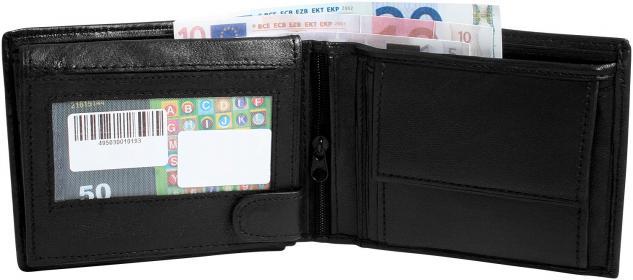 Echtleder Herren Geldbörse schwarz - Geldbeutel Portemonnaie - mehrere Fächer