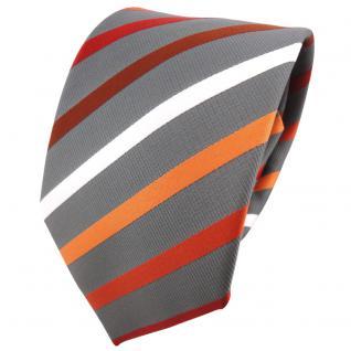 schöne TigerTie Krawatte in orange rotbraun silberweiß grau gestreift - Binder
