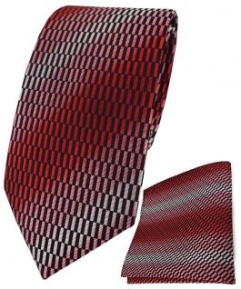 TigerTie Krawatte + Einstecktuch in rot verkehrsrot rose schwarz grau gemustert