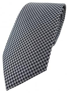TigerTie Designer Krawatte in silber grau schwarz Houndstooth gemustert