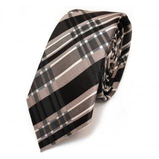Schmale Seidenkrawatte braun dunkelbraun beige kariert - Krawatte Seide