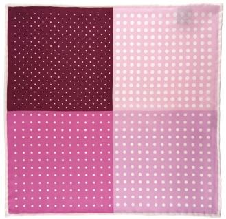 Multi Einstecktuch in rosa pink magenta weiss gepunktet - 100% Seide