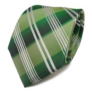 TigerTie Designer Seidenkrawatte grün grasgrün silber gestreift - Krawatte Seide