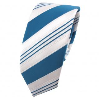 schmale TigerTie Satin Krawatte türkis ozeanblau weiß silber gestreift - Binder