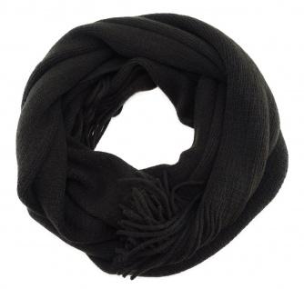 schöner Schal in schwarzbraun Uni mit Fransen - Winterschal Größe 30 x 180 cm