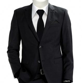 XXL TigerTie Sicherheits Krawatte + Einstecktuch in schwarz einfarbig Uni Rips - Vorschau 2