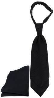 TigerTie Plastron Pique 2tlg Krawatte + Einstecktuch in schwarz uni gemustert