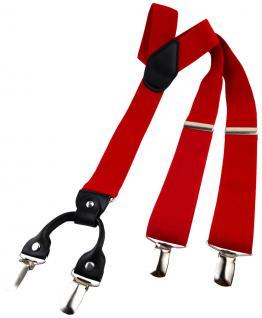 breiter TigerTie Herren Hosenträger mit 4 Clips in Y-Form - Farbe rot