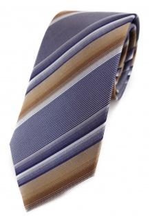 schöne edle Designer Seidenkrawatte gold braun silber gestreift - Krawatte Seide