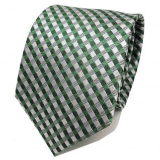 TigerTie Designer Seidenkrawatte grün silber grau kariert - Krawatte Seide Silk