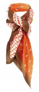 TigerTie Damen Halstuch orange gelb weissgrau braun gemustert - Gr. 100 x 100 cm