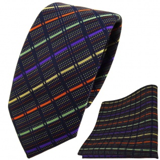 schmale TigerTie Krawatte + Einstecktuch gold lila grün orange schwarz gestreift