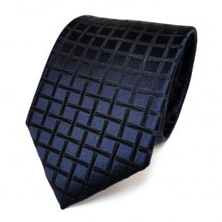 Designer Seidenkrawatte blau dunkelblau schwarzblau kariert - Krawatte Seide