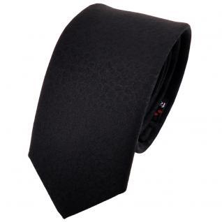 schmale TigerTie Designer Krawatte uni schwarz gemustert - Cravate Tie Binder